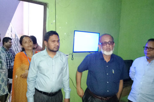 10. Honourable Directors inspect the hostel's Television Room with their team