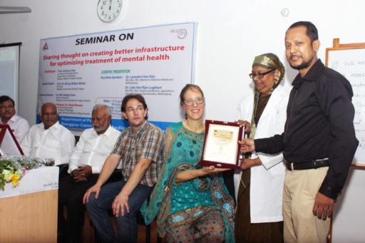 Principal Prof. Dr. Afruza Bulbul Aktar & Additional Director Md. Merazul Mohsin presented an honourary crest to Dr. Lida Van Rijn