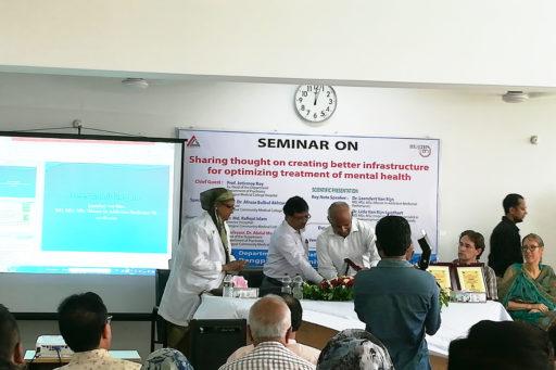 Principal Prof. Dr. Afruza Bulbul Aktar & Prof. Dr. Abdul Monem presented an honourary crest to Prof. Jotirmoy Roy for his dedication