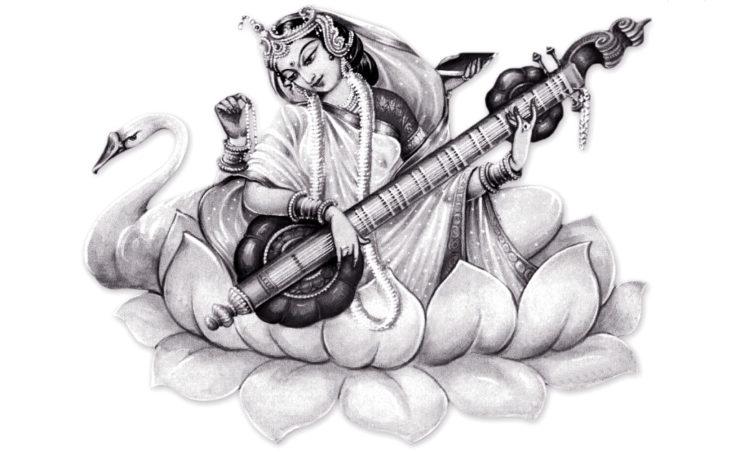 saraswati-black-white-maa