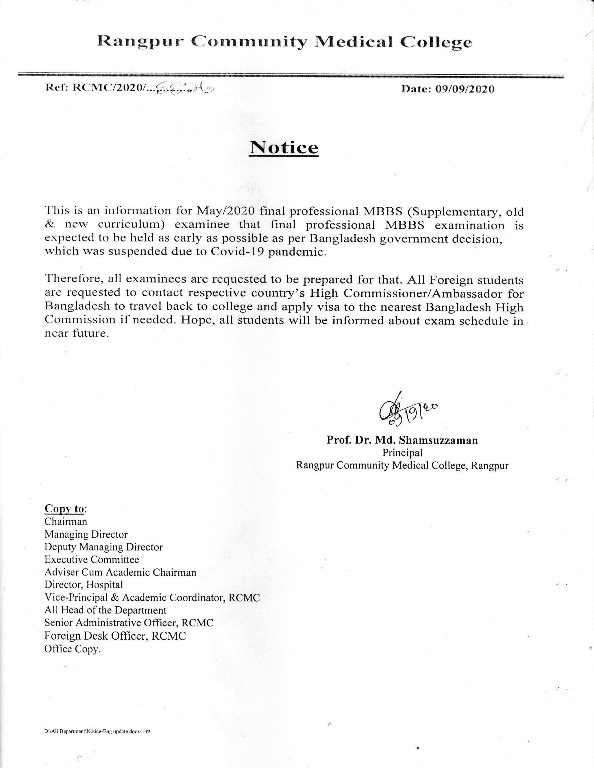 The Notice of Examination, Final Professional May-202
