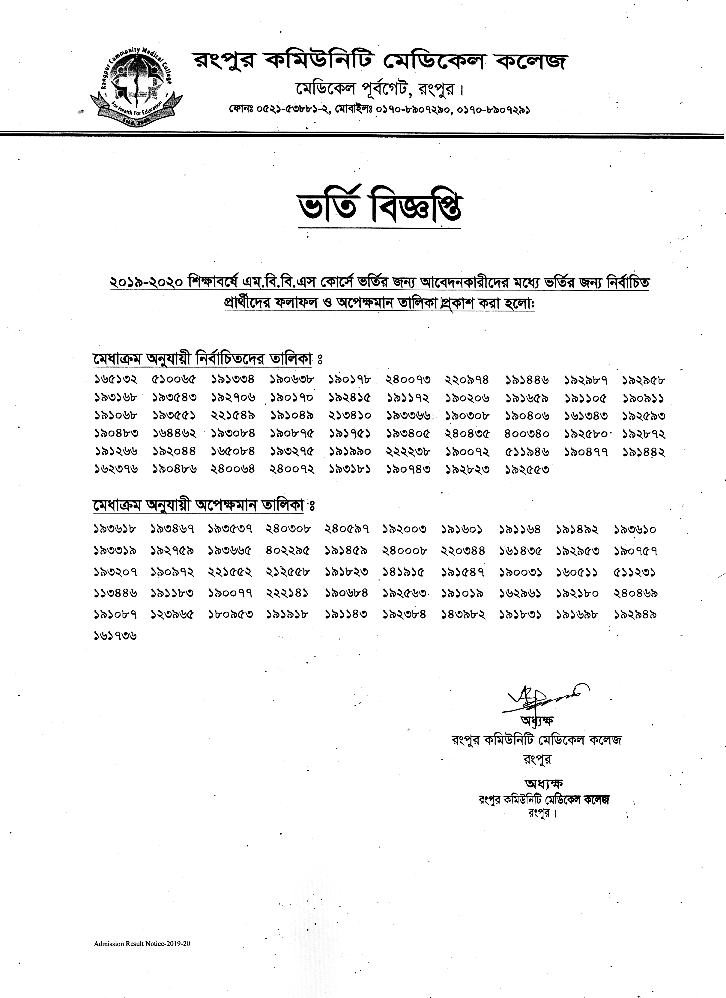 MBBS admission test result of Rangpur Community Medical College (RCMC)