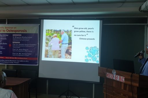 The main speaker, Assit. Prof. Dr. Mriganka Bhattacharjee presented his slides at the Seminar on Don't Bend to Osteoporosis